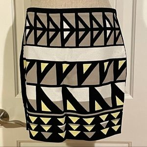 RACHEL Rachel Roy Geometric Fitted Mini Skirt